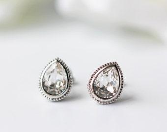 Clear Swarovski Crystal Titanium Studs Pear Shape Silver Bezel Simple Minimalist Earrings