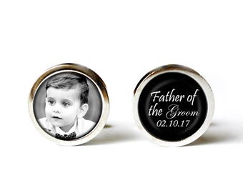 Photo Cufflinks, Wedding Cufflinks, Father of the Groom Cufflinks, Custom Cufflinks, Gift from Bride, Keepsake Cufflinks, Dad Cufflinks