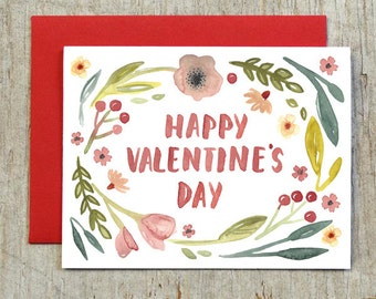 Floral Wreath Valentine's Day Card, Watercolor Note Card by Little Truths Studio