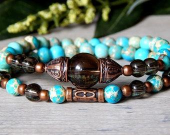 Beaded Bracelet Stack, Blue Bracelets, Blue Bracelet, Popular Bracelets, Jasper Bracelet, Earthy Bracelet, Nature Bracelet