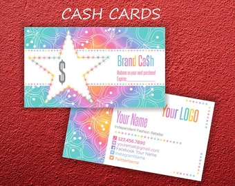 LLR Cash Cards * Home Office Approved Fonts & Colors * Roe Cash * Gift Certificate * Rainbow Design * Cash Card * LuLaCash -LLRRW01
