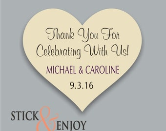 Thank you for celebrating with us  - Custom Waterproof Wedding Stickers, Personalized Wedding Labels, Favor labels stickers