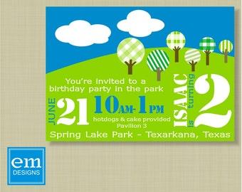 Kid's uitnodiging voor verjaardagsfeestje in het Park met geruite bomen, DIY afdrukken, aangepaste, groen, blauw, picknick