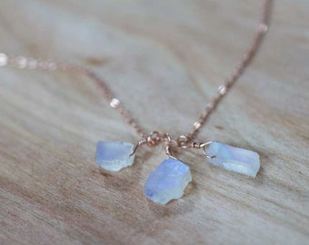 Rough Moonstone Necklace on Sterling Silver or Rose Gold Filled Chain, Gemstone Cluster Necklace, Raw Rainbow Moonstone Jewelry, Oxidized