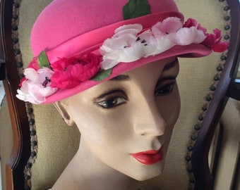Vintage 1950s Hat Rosy Pink By: Marche' EXCLUSIVE Dark Pink Light Pink Off White Flowers Adorn The Hat Comes With A Small Black Hat Pin