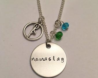 Namaslay Yoga Jewelry Yogi Jewelry Namaste Hand Stamped Yoga Charm Necklace