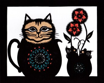 Cat & Mouse Games - 8 X 10 inch Cut Paper Art Print