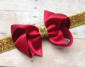Baby headband - red baby headband, baby headbands, baby headband bows, newborn headbands, baby bows, bows, baby girl headbands, hair bows