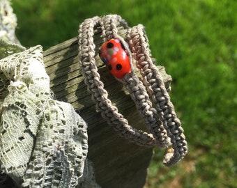 Stackable hemp bracelet trio (orange)