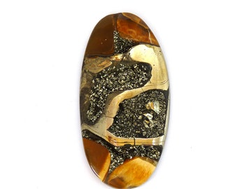 Fossil Ammonite with Nautral Pyrite Druzy Designer Cabochon Gemstone 36.0x70.9x6.7 mm 129.5 carats Free Shipping