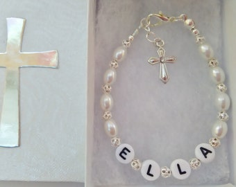 First Holy Communion Bracelet Personalized ANY NAME Girls White Bead Jewelry Holy Confirmation Baptism Gift
