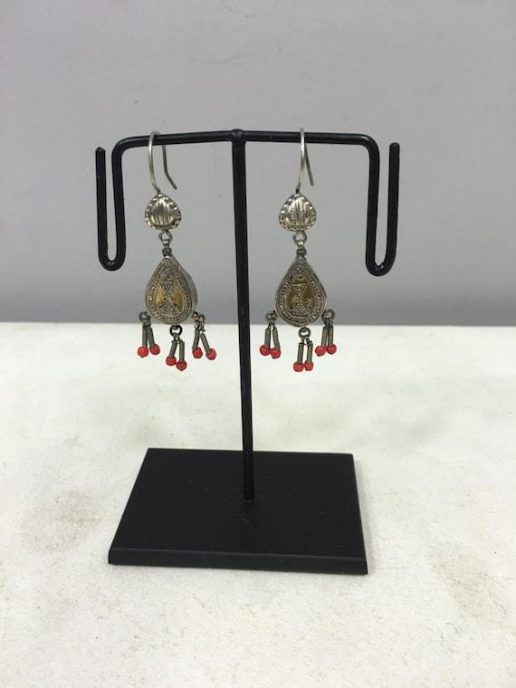 Earrings SIlver Gold Gilt  Dangle Earrings Carnelain Middle East Handmade Jewelry Earrings Carnelian Red Tribal Silver Unique Statement E116