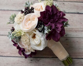Rustic Bouquet, Wedding Bouquet, Silk Bouquet, Blush Ivory and Plum Garden Rose and Dahlia Wedding Bouquet