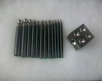 Jewelers Dapping Block With 12 pc Punch Set