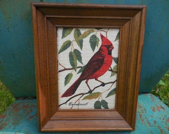 Vintage 1950s to 1970s Retro KayDee Hand Prints 100% Pure Linen Rhode Island Red and Black Cardinal Bird Wall Hanging Picture Green Leaves