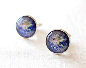 Planet Earth Cufflinks. World Cuff Links. Travel Cufflinks. Wanderlust Cufflinks. Adventure Cufflinks. Geography Cufflinks for Men.