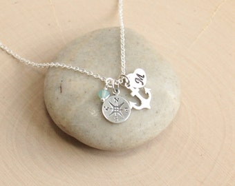 Sterling Silver Compass, Anchor, Initial Necklace... You Choose the Birthstone and Initial