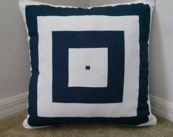 Navy/White Stripes Pillow Cover, Decorative Pillow Cover, 20''x20''