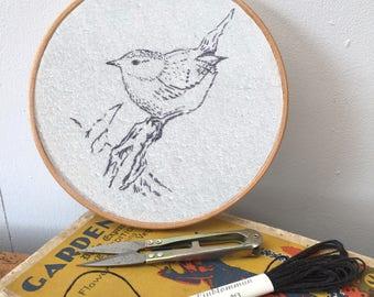 hand embroidered Wren drawing, hoop art, wildlife, animal art, nature, gift for animal lover, british wildlife, animals,