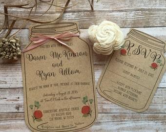 Rustic Wedding Invitation, Mason Jar Wedding Invitation, Shabby Chic Wedding Invitation, Barn Wedding Invitation, Country Wedding