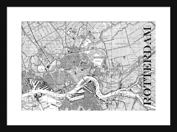 Rotterdam Street Map Vintage Print Poster Holland