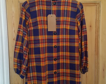 Handmade Vintage Checked Smock Top