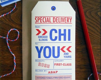 letterpress special delivery from chicago to you greeting card luggage tag rush asap first class greetings from chicago baby hello miss you