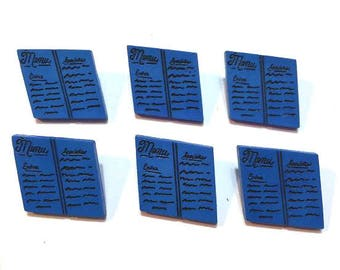 Restaurant Menu Buttons Set of 6 Shank Back Blue White Color Choice - 225