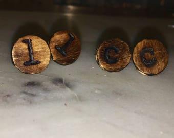 Custom Alphabet distressed wooden studs