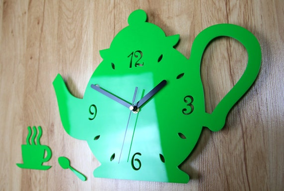 Wall Clock Kitchen Clock KETTLE Modern Clock Gift Wall