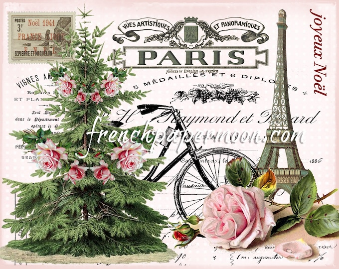 Shabby Paris Christmas Digital Graphic, Pink Christmas Digital, French Xmas, Noel, Printable Graphic Transfer Image 0104