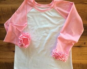 SALE!! Bubblegum Pink Icing Ruffle Raglan