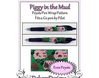 Bead Pattern Peyote(Pen Wrap/Cover)-Piggy in the Mud