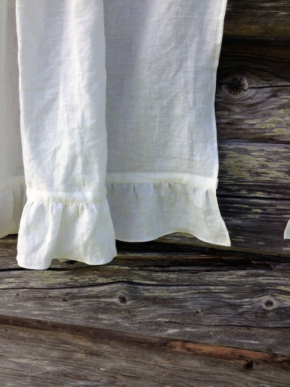 Linen Cafe Curtain White Panel French Country With Ruffle Shabby Chic Curtains Valance Privacy