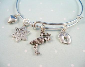 New Baby Bangle Bracelet, Stork Stainless Steel Bangle Bracelet,  Adjustable Bangle, Baby Theme Bangle Bracelet, Gift For Her