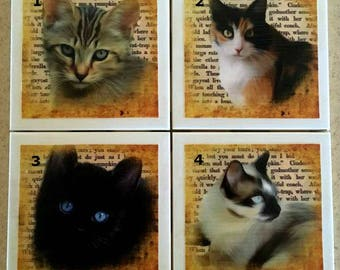 Coaster - Ceramic Tile - Cats - Free U.S. Shipping - Housewarming Gift - Animal Lover - Your Choice