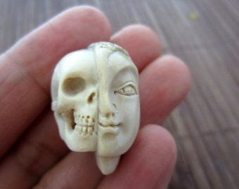 Unique Two Face Skull, Bone Sculpture, Carved  Deer Antler ,  Jewelry making supplies B4006