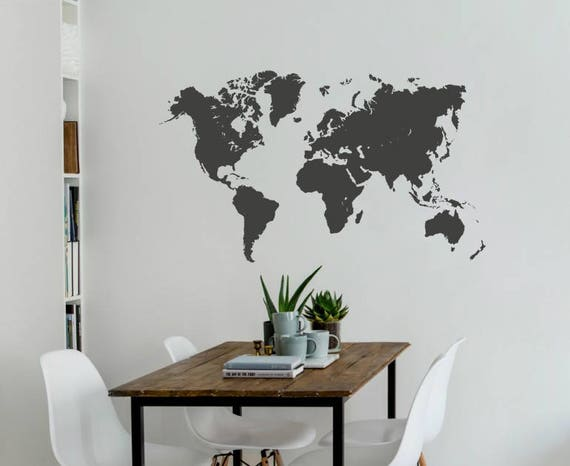 Detailed world map wall decal sticker living room publicscrutiny Image collections