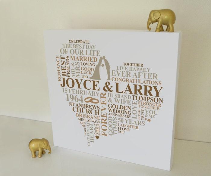 Golden Wedding Gift Ideas Uk: Canvas Golden Wedding Anniversary Gift. Personalised Word Art