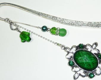 "Large bookmark gem ""green cabochon from India"""