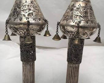 Pair of Sterling Judaica Middle Eastern Torah Finials