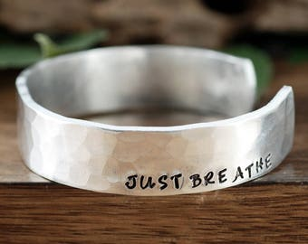 Breathe Cuff Bracelet, Just Breathe, Gift for Her, Hand Stamped Cuff Bracelet, Yoga Gift, Yoga Jewelry, Christmas Gift for Yogi