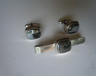 1950s-60s Silver Cuff Links with Matching Tie Bar