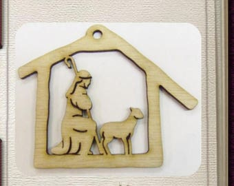 Nativity Shepherd Ornament - Laser Cut Wood