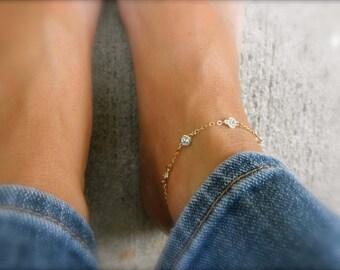 Multi  CZ ankle bracelet - cz charm - cz framed charm - multi cz charms -   ankle bracelet - silver anklet - gold anklet - rose gold anklet