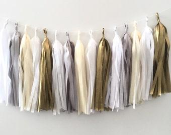 Tissue Tassel Garland 20 Tassels. Neutral Cream, Grey and Gold