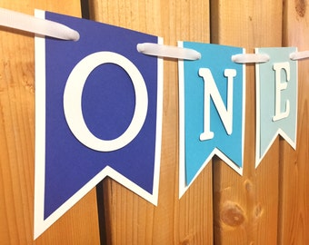 custom blue ombre ONE high chair banner, first birthday, birthday banner, one banner, 1st birthday, 1st birthday banner, highchair banner