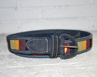 Guatemalan genuine leather belt with handmade pattern
