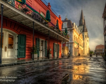 St. Louis Cathedral in New Orleans Photograph, French Quarter, Morning Light, Mardi Gras, Sunrise, Fine Art Photography, Chartres Street