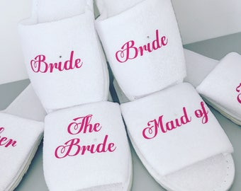 Bride slippers, bridesmaid gift, personalised slippers, bachelorette slippers, Sister of the Groom, mother of the groom, slippers, white,